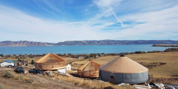 yurts under construction